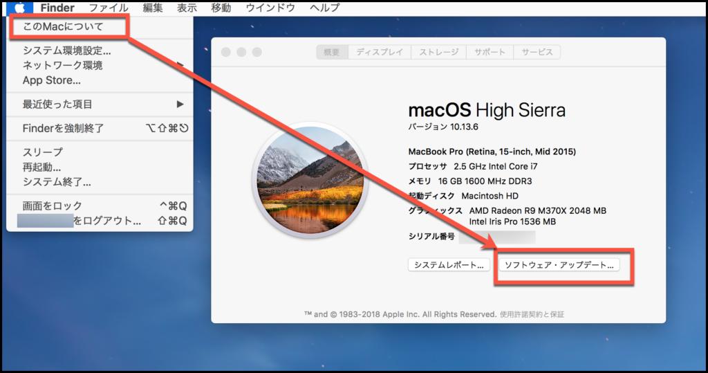 macのソフトウエアアップデートを確認